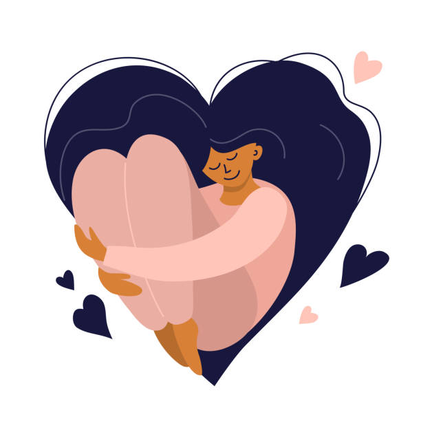 Body positive, self care or happy women's day illustration Cute girl with heart shaped long hair. Self care, love yourself icon or body positive concept. Happy woman hugs her knees. Illustration of International Women's day. Vector postcard, valentines card. body positive stock illustrations