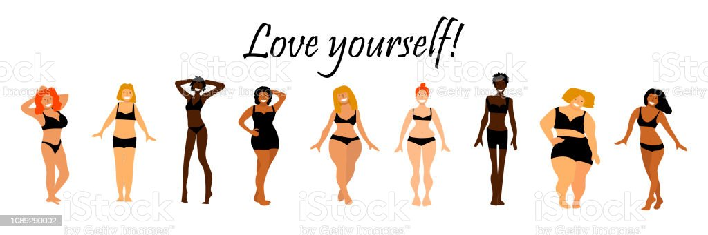 Body Positive Set Love Yourself Text Multiracial Women Of Different
