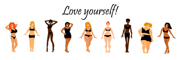 Body positive set. Love yourself text. Multiracial women of different height, figure type and size. Hand sketched with happy women. Motivation illustration for greeting card, banner, postcard, web, poster template. Vector illustration. Body positive concept body positive stock illustrations