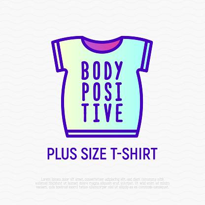 Body positive thin line icon: plus size t-shirt. Modern vector illustration.