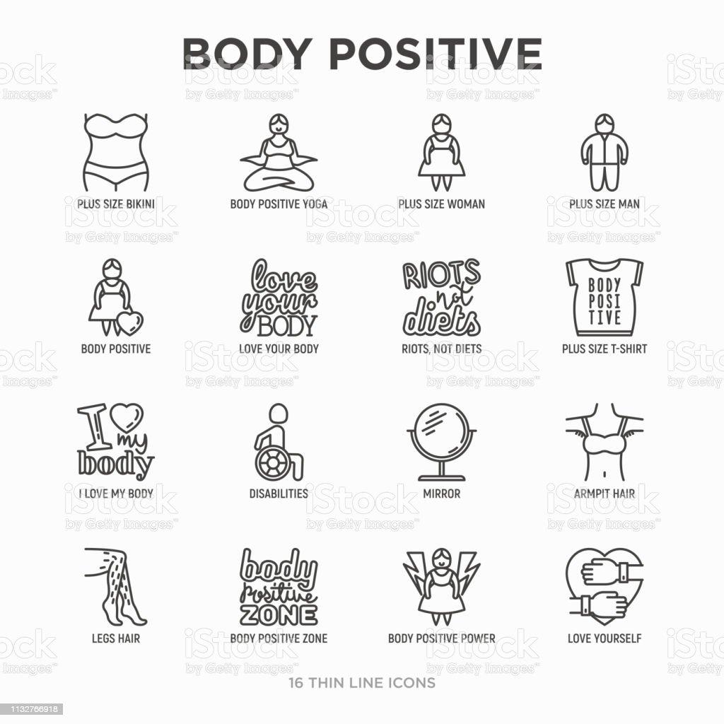 Body Positive Thin Line Icons Set Woman Plus Size Yoga ...
