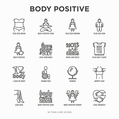 Body positive thin line icons set: woman plus size, yoga, bikini, armpit hair, legs hair, mirror, disability. Stickers with quotes. Modern vector illustration.