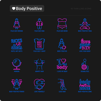 Body positive thin line icons set: woman plus size, yoga, bikini, armpit hair, legs hair, mirror, disability. Stickers with quotes. Modern vector illustration for black theme.