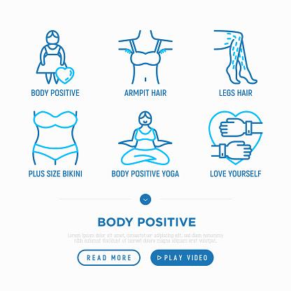 Body positive thin line icons set: woman plus size, yoga, bikini, armpit hair, legs hair, mirror. Vector illustration.