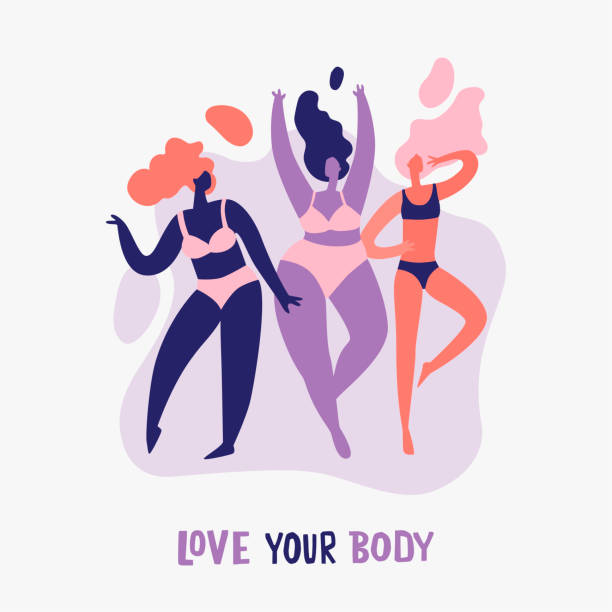 Body positive Love your body - body positive. Happy Women of different figure type in lingerie. Beauty diversity of different women in the flat style body positive stock illustrations