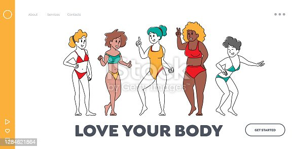 istock Body Positive Women Diversity Landing Page Template. Happy Multiracial, Multicultural Girl Characters of Different Ages 1284621864