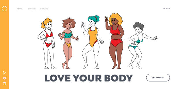 Body Positive Women Diversity Landing Page Template. Happy Multiracial, Multicultural Girl Characters of Different Ages Body Positive Women Diversity Landing Page Template. Happy Multiracial, Multicultural Girl Characters of Different Ages, Size and Ethnicity Stand in Row in Swim Suit. Linear People Vector Illustration active lifestyle stock illustrations