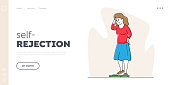 Body Rejection, Dissatisfaction Landing Page Template. Female Character with Low Self-esteem Looking at Scales Dissatisfied with her Weight. Disgust to Self Appearance. Linear Vector Illustration