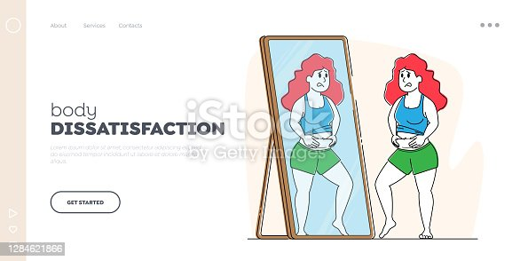 istock Body Rejection Landing Page Template. Plus Size Female Character Look at Mirror Reflection Dissatisfied with Figure 1284621866