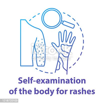 Body self-examination blue concept icon. Rash, eczema symptoms, signs. Inflammation, itchiness on skin. Safe sex. Dermatology idea thin line illustration. Vector isolated outline drawing