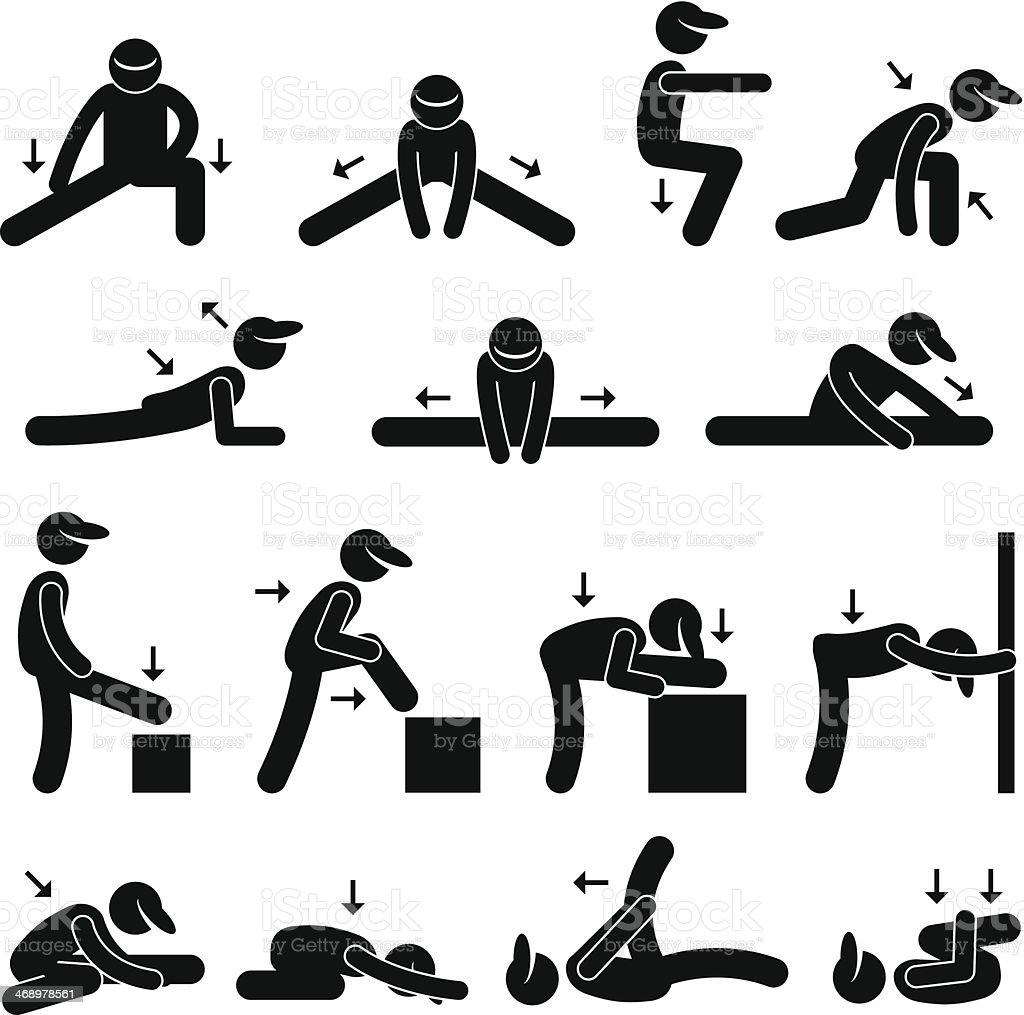 Body Stretching Exercise Stick Figure Pictogram Icon vector art illustration