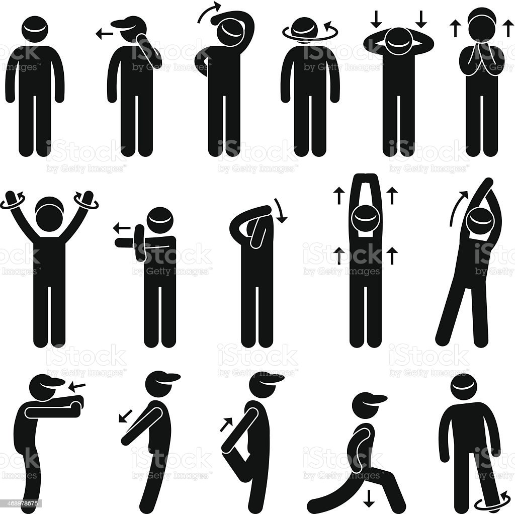Body Stretching Exercise Stick Figure Pictogram Icon vector art illustration
