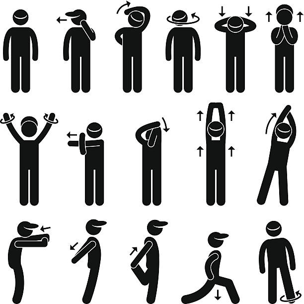 stockillustraties, clipart, cartoons en iconen met body stretching exercise stick figure pictogram icon - rek