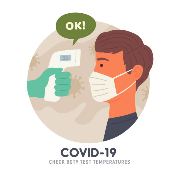 Body temperature check before entry. Non-contact thermometer. COVID-19. Coronavirus. Vector illustration Body temperature check before entry. Non-contact thermometer. COVID-19. Coronavirus. Vector illustration fever stock illustrations