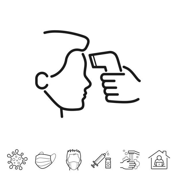 Body temperature check. Line icon - Editable stroke vector art illustration