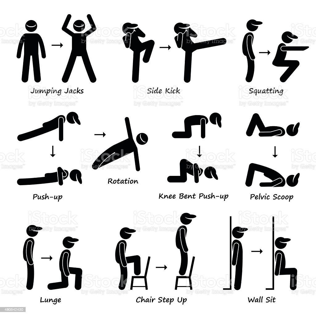 Body Workout Exercise Fitness Training (Set 1) Pictogram vector art illustration