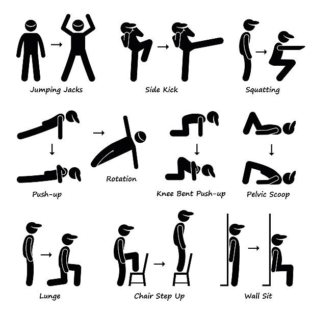 stockillustraties, clipart, cartoons en iconen met body workout exercise fitness training (set 1) pictogram - buigen lichaamsbeweging