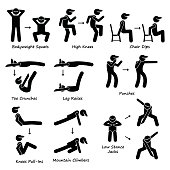 A set of human pictogram showing plank variation poses. They are bodyweight squats, high knees, chair dip, toe crunches, leg crunches, punches, knee pull-ins, mountain climbers, and low stance jack.