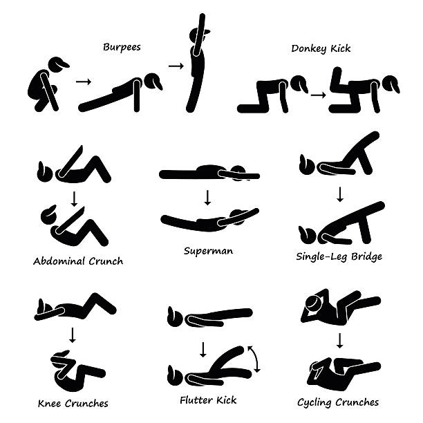 Body Workout Exercise Fitness Training (Set 3) Pictogram A set of human pictogram showing body workout exercise. They are burpee, donkey kick, abdominal crunch, superman, single-leg bridge, knee crunches, flutter kick, and cycling crunches. one man only stock illustrations