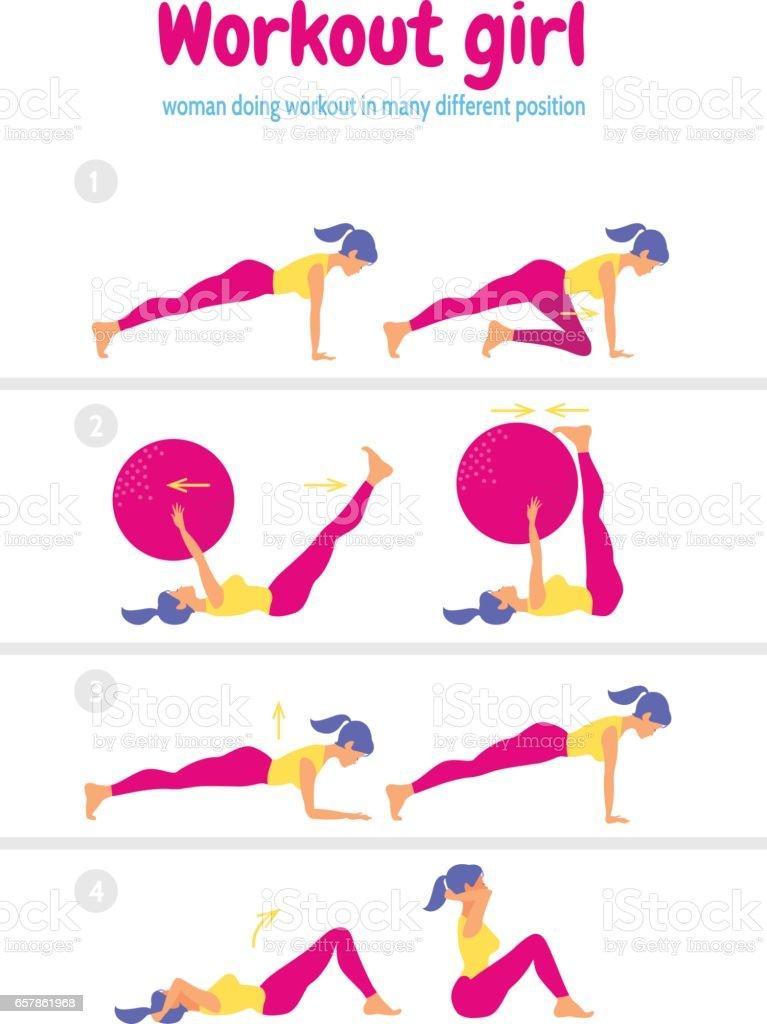 Körper-Training-Set. Frau macht Fitness und Yoga-Übungen – Vektorgrafik