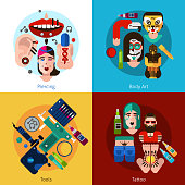 Set of 2x2 images with piercing body art tools and tattoo elements flat vector illustration