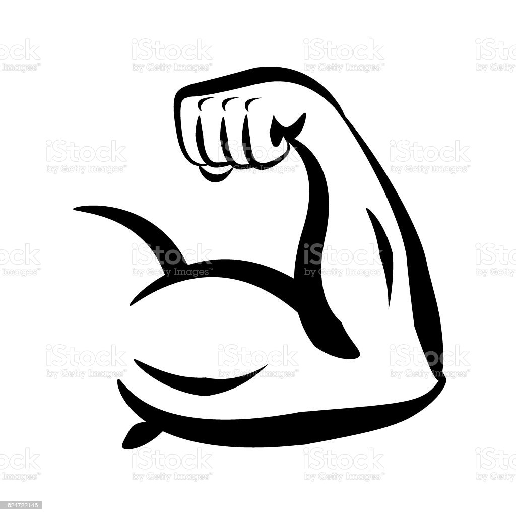 Bodybuilder Big Biceps Vector Logo - Illustration vectorielle