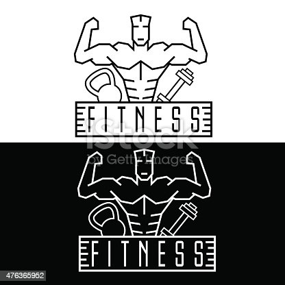 Bodybuilder Fitness Model line craft emblem