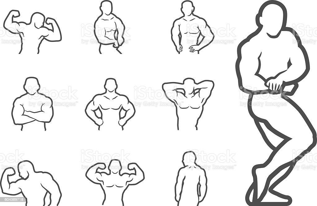 Bodybuilder Fitness Model Pose Muscle Illustration Vector vector art illustration