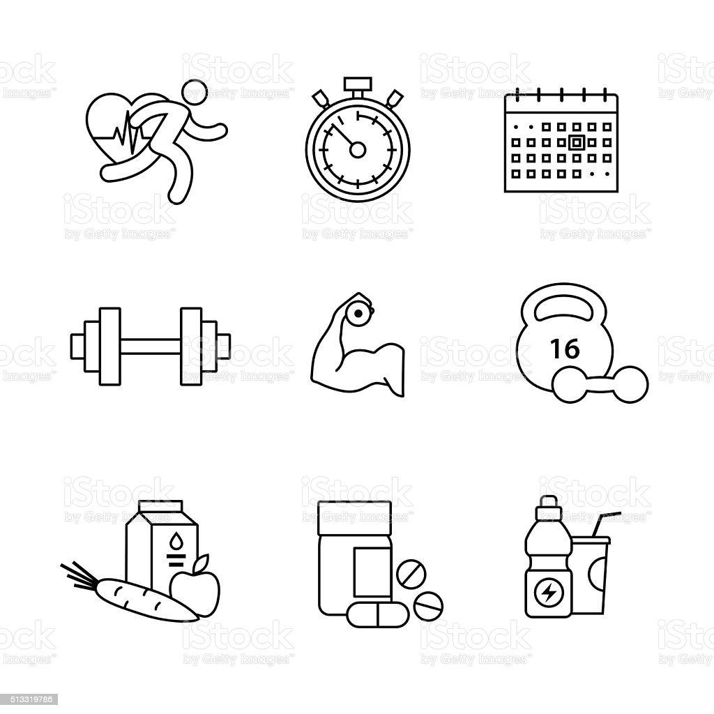 Fisiculturista, academia de ginástica arte ícones definido Linha fina - ilustração de arte em vetor