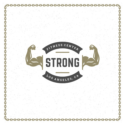 Bodybuilder hands logo or badge vector illustration male biceps symbol silhouette