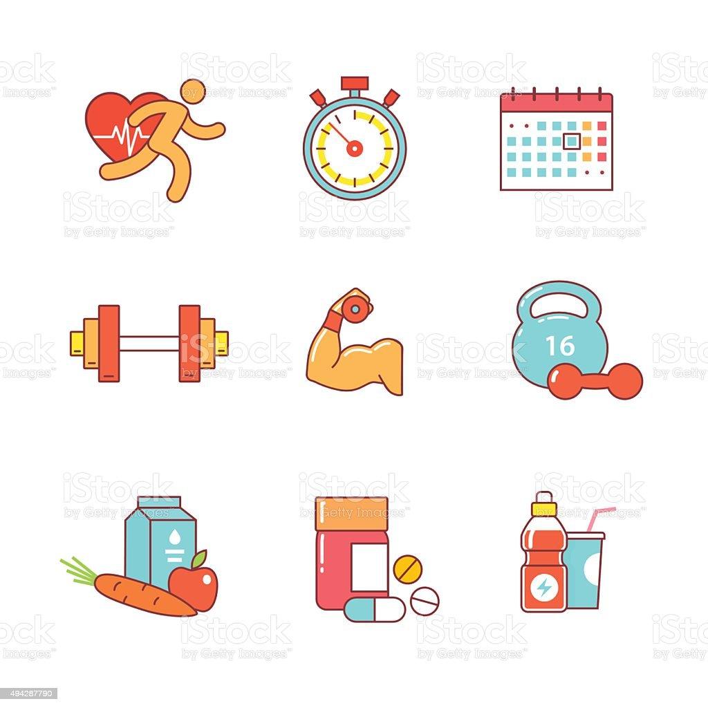 Bodybuilder, la salud, un conjunto de iconos de línea fina - ilustración de arte vectorial