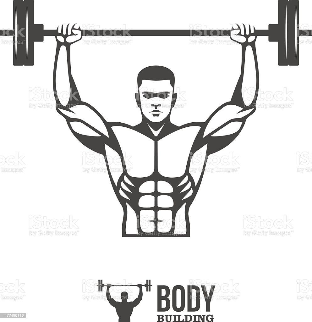 Bodybuilder lifting barbell vector art illustration