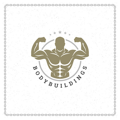 Bodybuilder man logo or badge vector illustration, male bodybuilding symbol silhouette