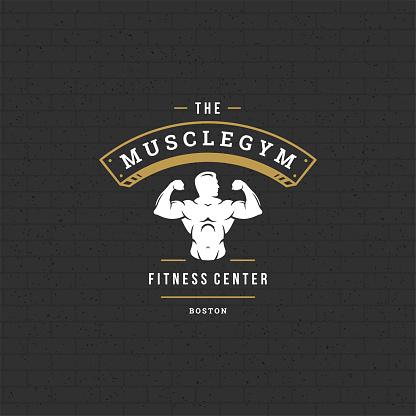 Bodybuilder man symbol or badge vector illustration, male bodybuilding symbol silhouette