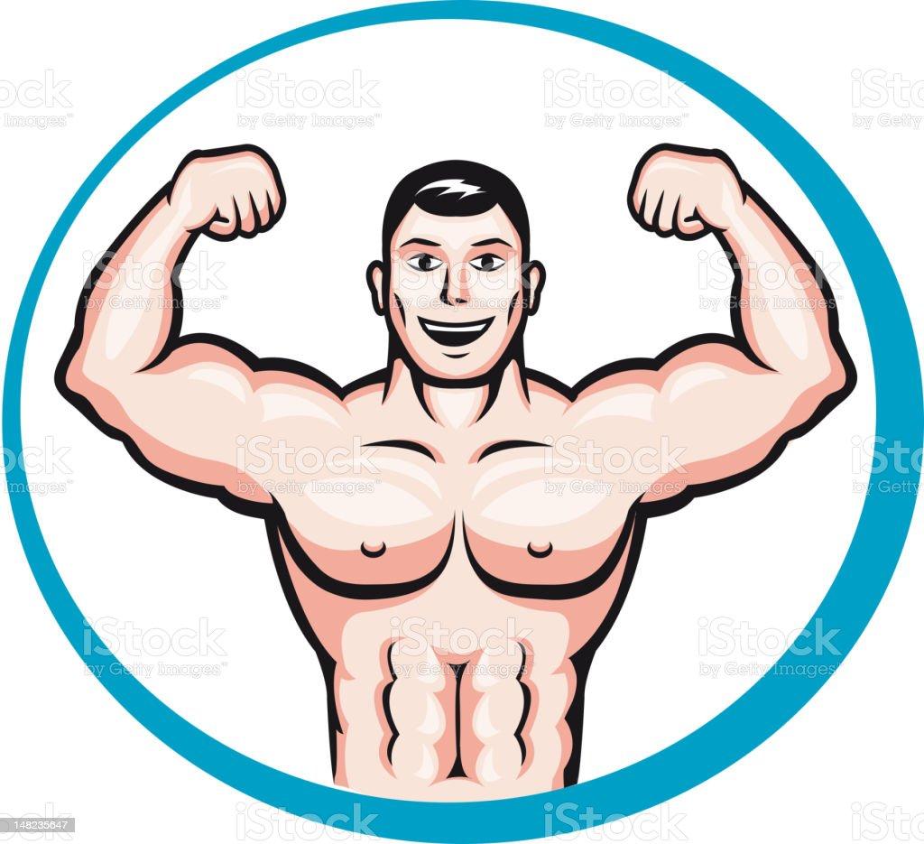 Bodybuilder man vector art illustration