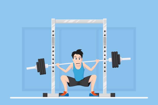 ilustraciones, imágenes clip art, dibujos animados e iconos de stock de carácter de culturista novato - entrenamiento con pesas