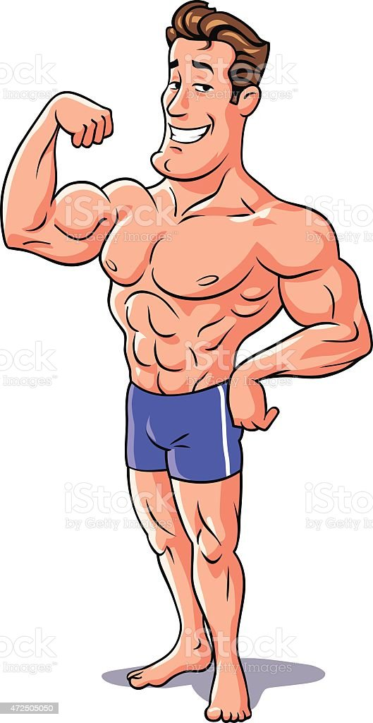 Bodybuilder Posing vector art illustration