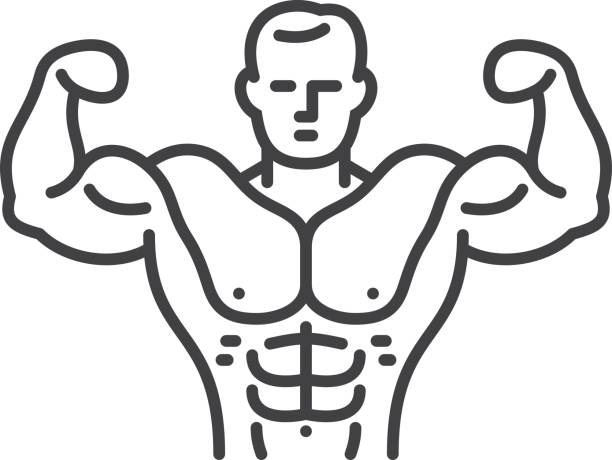Bodybuilder Vector Line icon. Single object. Files included: Vector EPS 10, HD JPEG 4000 x 3000 px chest torso stock illustrations