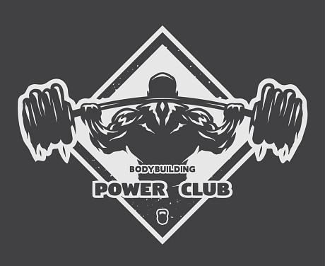 Bodybuilder with a barbell. Label, emblem, t-shirt design.