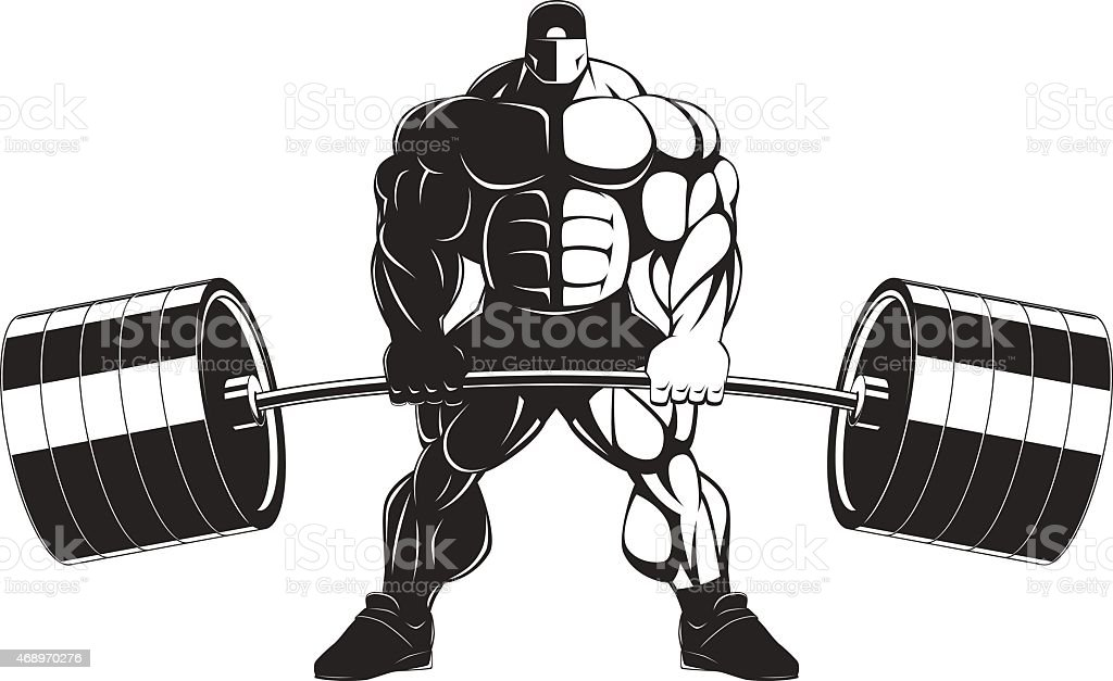 Bodybuilder with a barbell vector art illustration