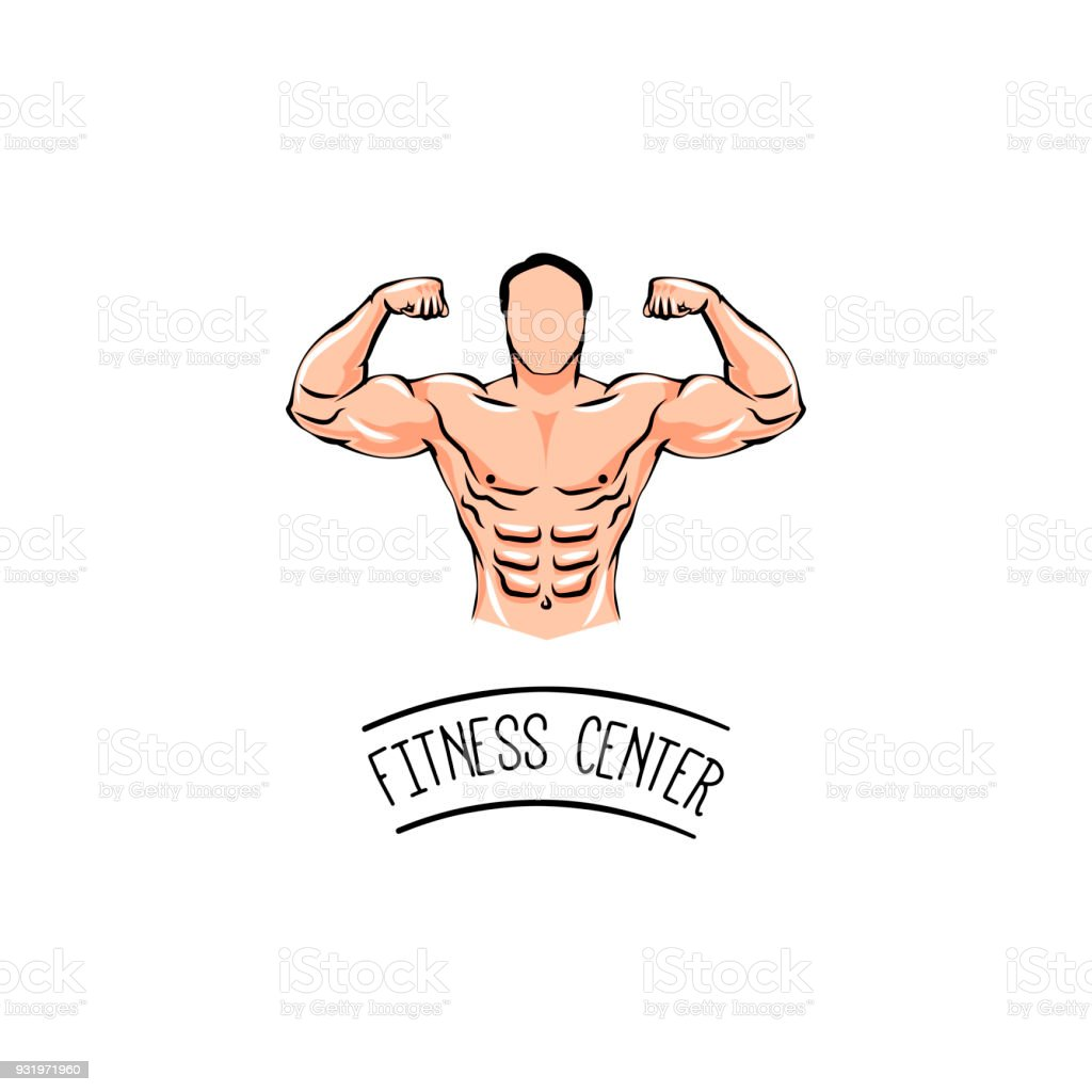 Bodybuilder with a mustache. Man with muscles. Fitness center. Vector Illustration. vector art illustration