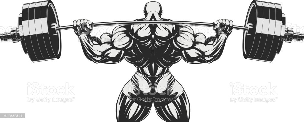 Bodybuilder with big biceps vector art illustration