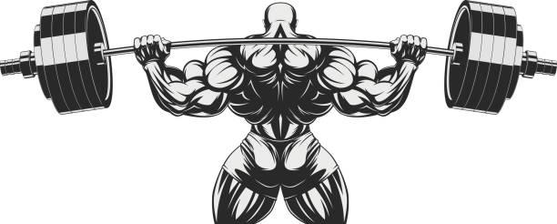 Culturista con bíceps grandes - ilustración de arte vectorial