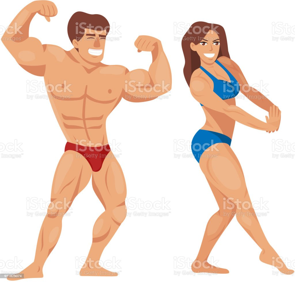Bodybuilders characters muscular bearded man illustration set fitness models posing bodybuilding vector illustration vector art illustration