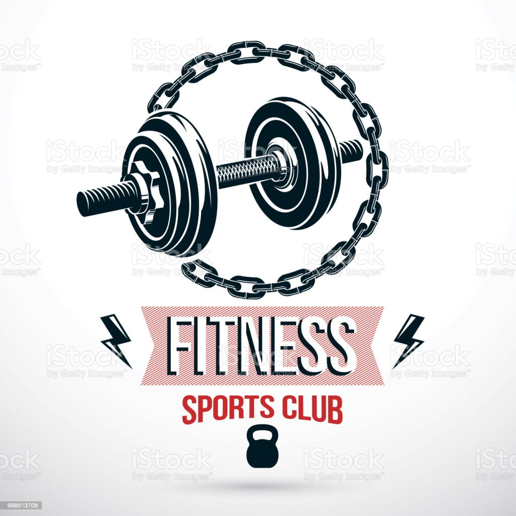 Bodybuilding and fitness sport vector emblem template created using dumbbell sport equipment and iron chain, symbol of strength. vector art illustration
