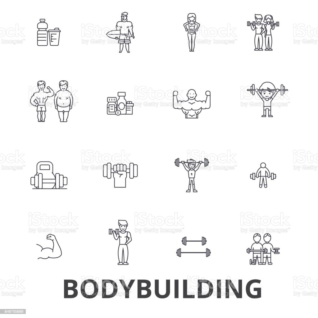 Bodybuilding, body, muscle, gym, muscleman, bodybuilder, weightlifting, muscular line icons. Editable strokes. Flat design vector illustration symbol concept. Linear signs isolated vector art illustration