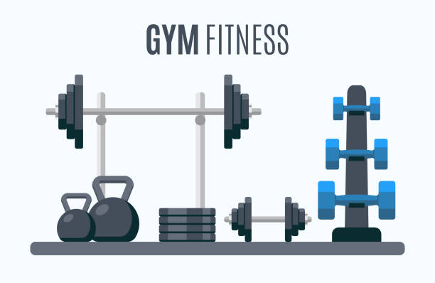 bodybuilding equipment. flat design icons on fitness gym exercise equipment - waga opis fizyczny stock illustrations
