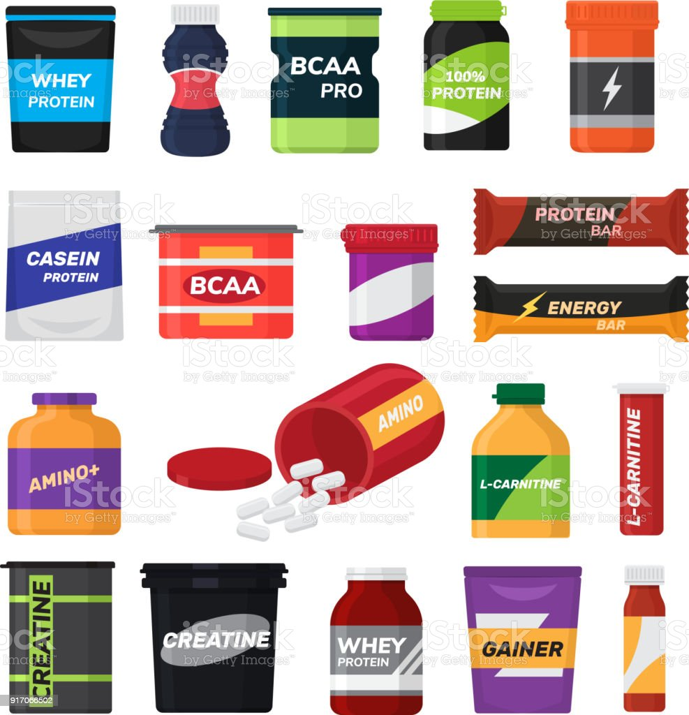 Bodybuilding fitness nutrition vector sport nutritional supplement with protein for bodybuilders illustration set isolated on white background vector art illustration