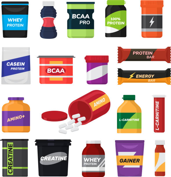 Bodybuilding fitness nutrition vector sport nutritional supplement with protein for bodybuilders illustration set isolated on white background Bodybuilding fitness nutrition vector sport nutritional supplement with protein for bodybuilders illustration set isolated on white background. nutritional supplement stock illustrations