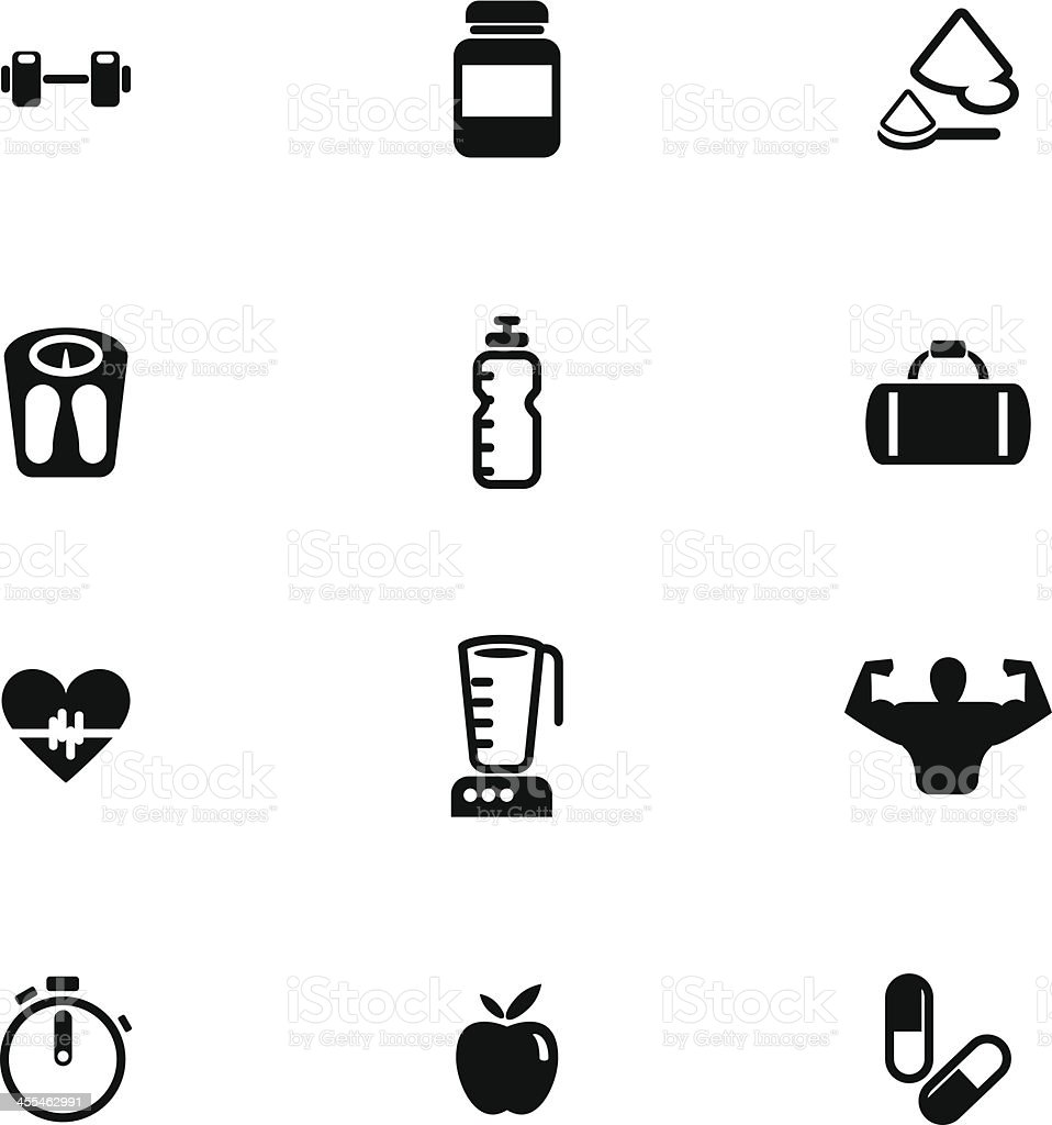 Bodybuilding Icon Set vector art illustration